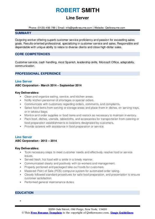 Line Server Resume example