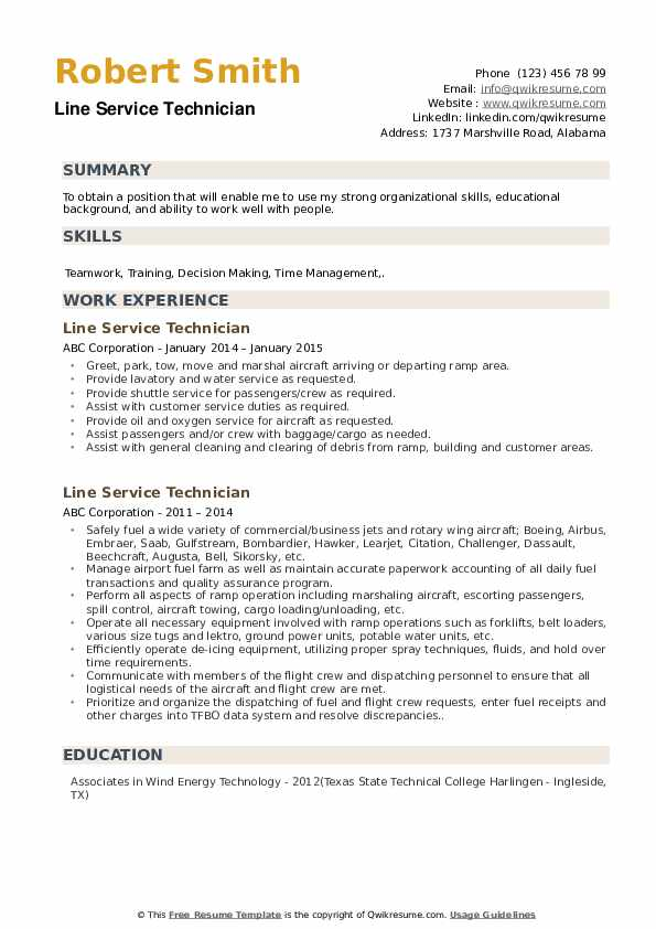 Line Service Technician Resume example