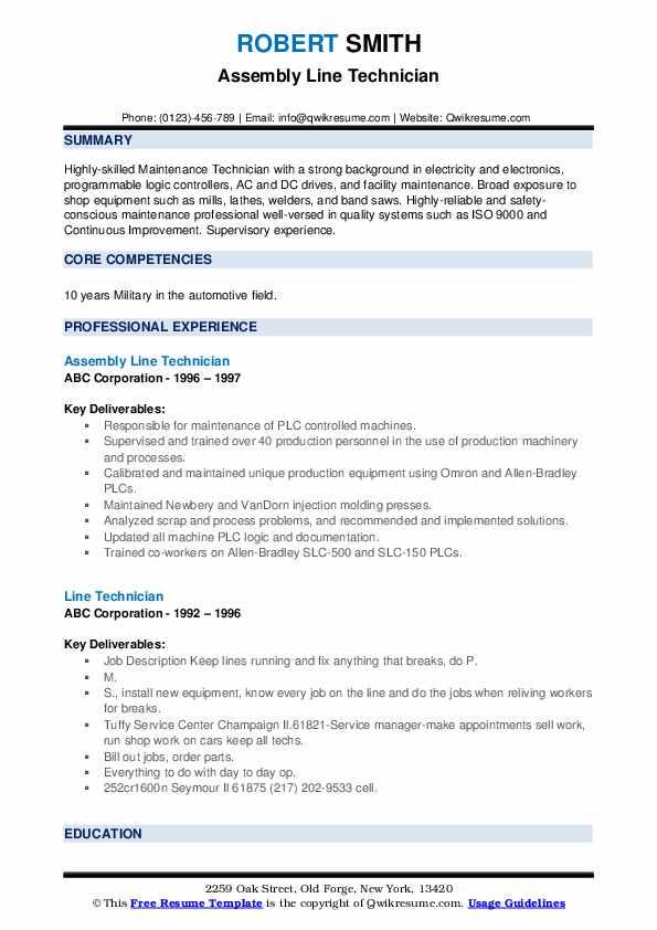 Line Technician Resume Samples | QwikResume