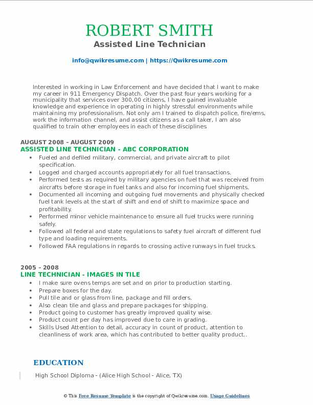 Assisted Line Technician Resume Template