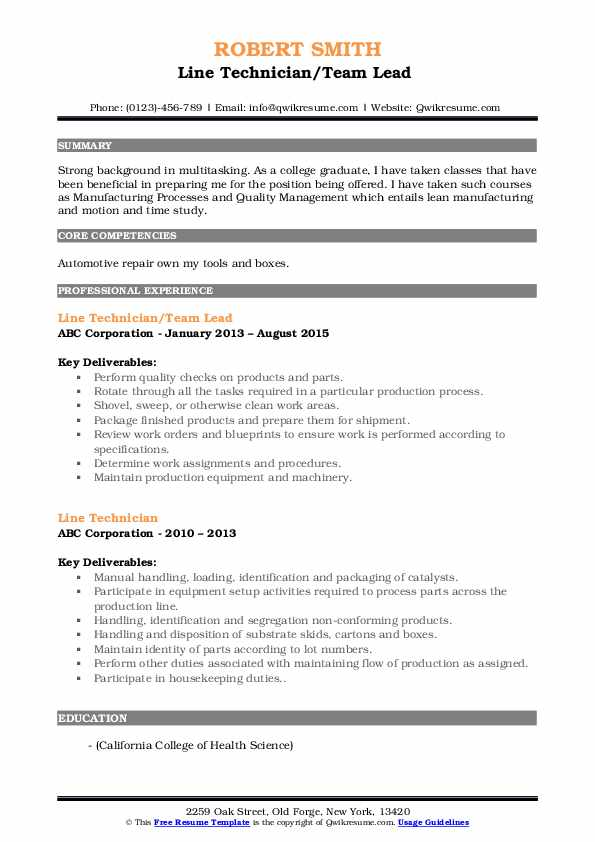 Line Technician/Team Lead  Resume Sample
