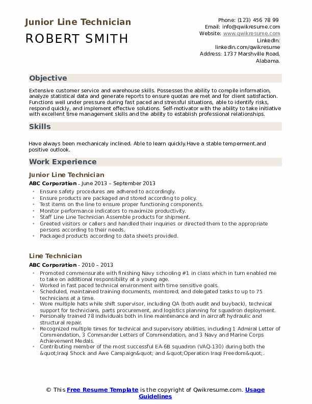 Junior Line Technician Resume Sample