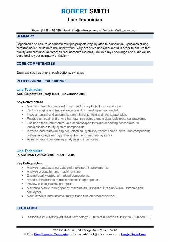 Line Technician Resume example