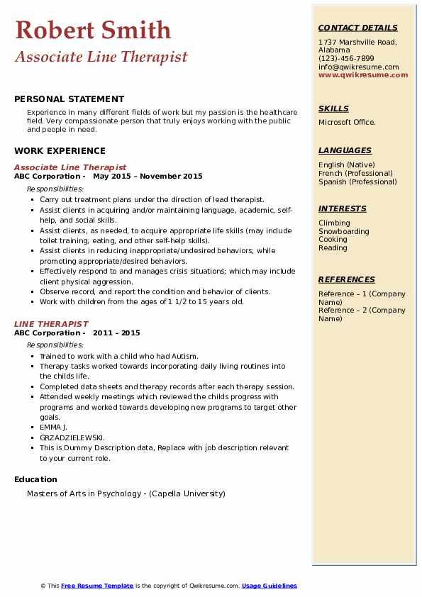 line therapist resume samples  qwikresume