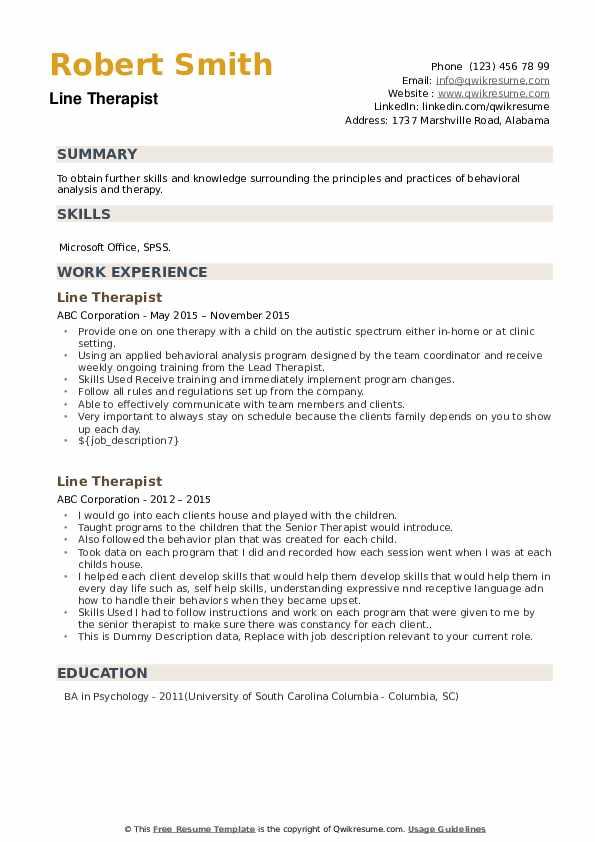 Line Therapist Resume example