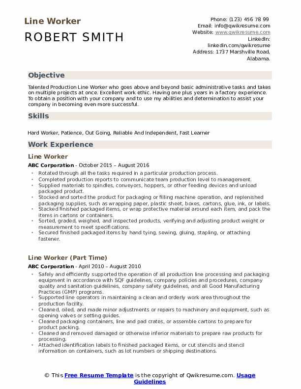 Line Worker Resume Format