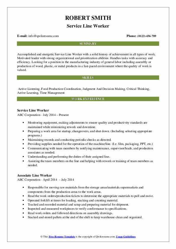 Service Line Worker Resume Format