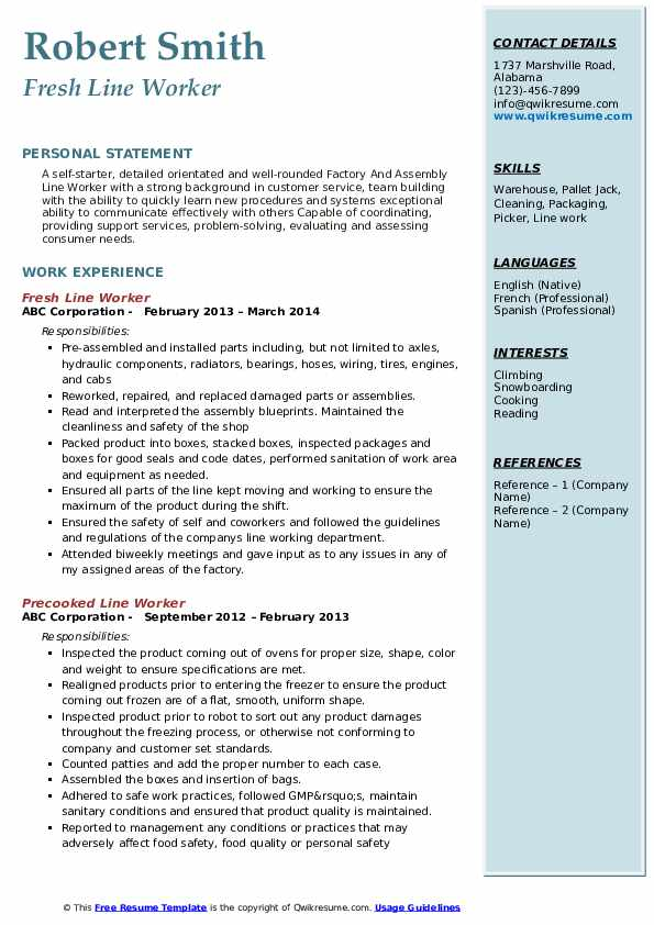 Fresh Line Worker Resume Example