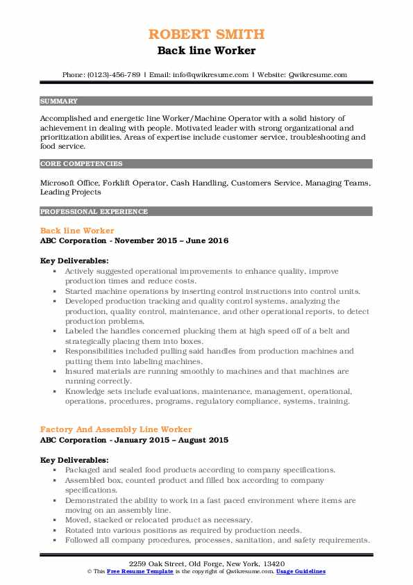 Back line Worker Resume Example