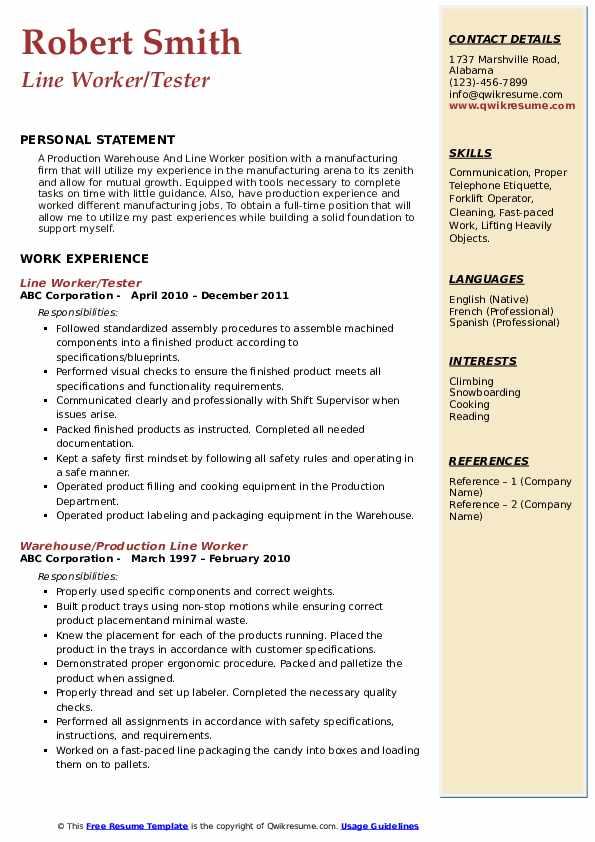 Line Worker/Tester Resume Model