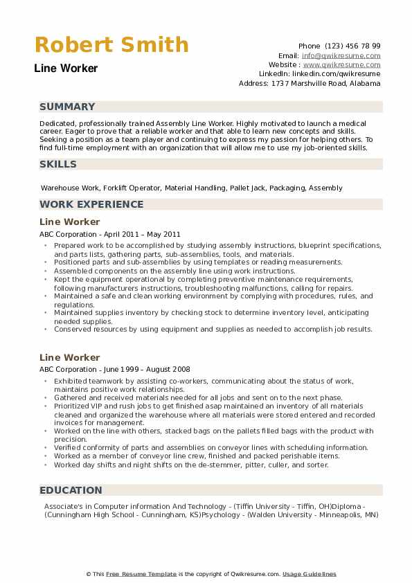 Line Worker Resume Samples