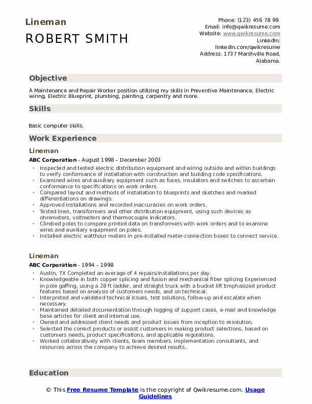 lineman resume samples