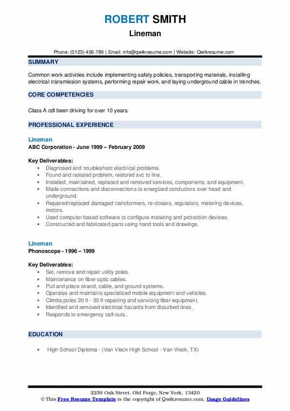 Lineman Resume example