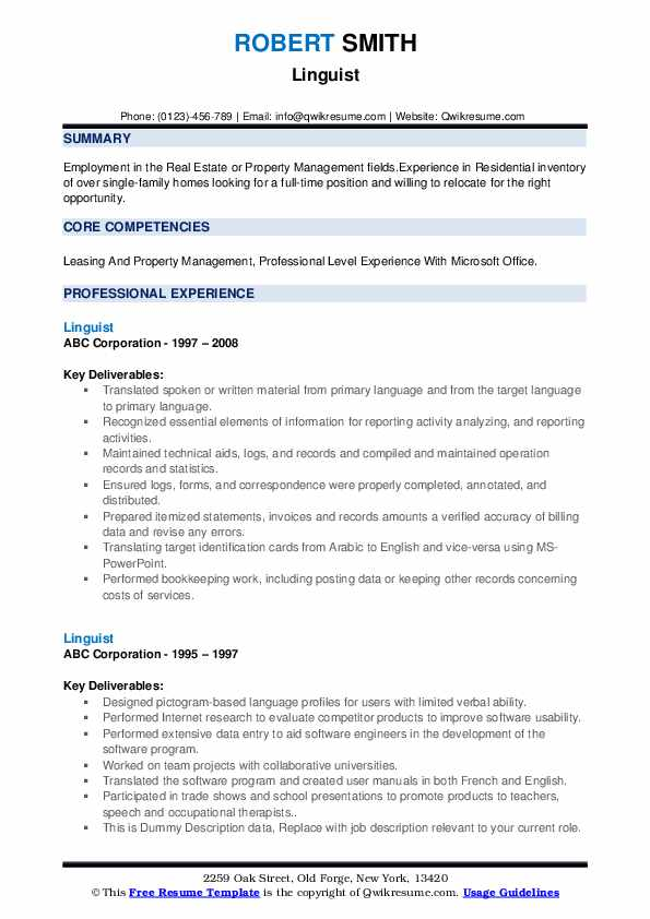 Linguist Resume example