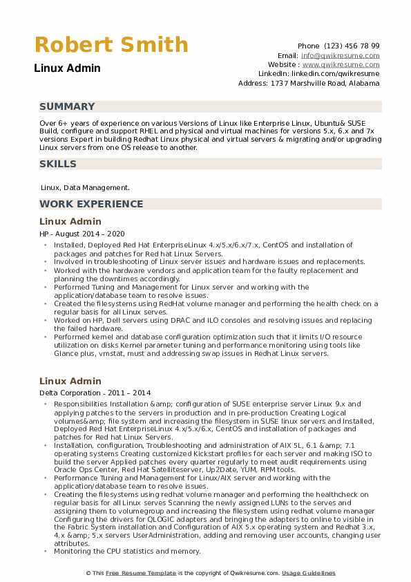 Linux Admin Resume example