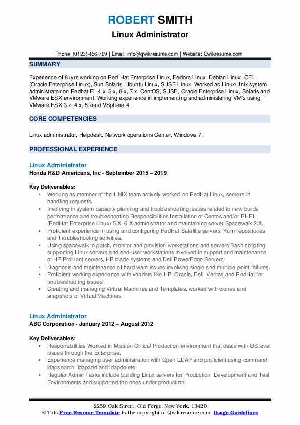 Linux Administrator Resume Format