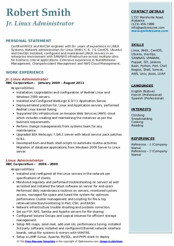 Jr. Linux Administrator Resume Example