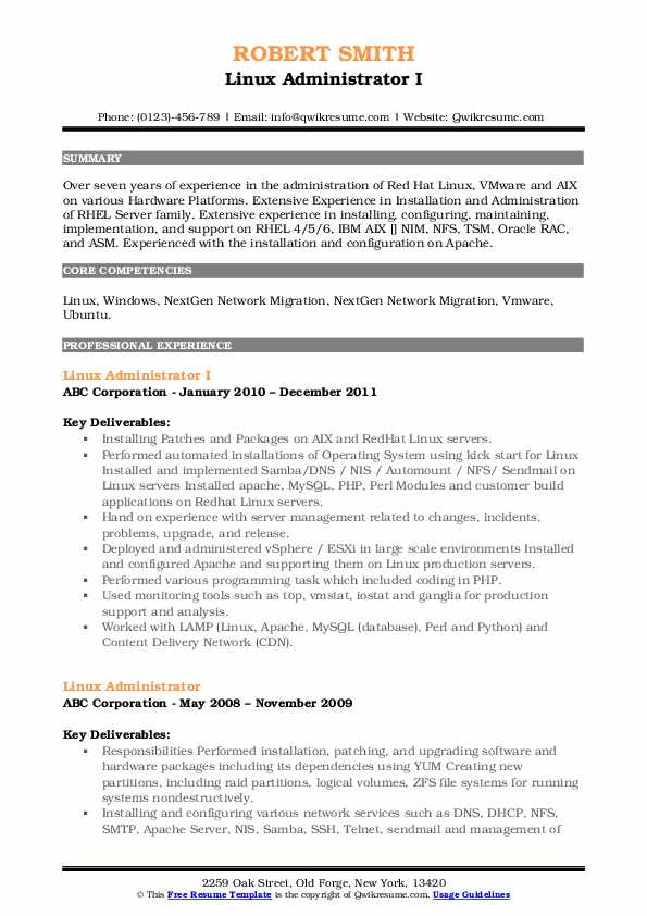 Linux Administrator I Resume Example