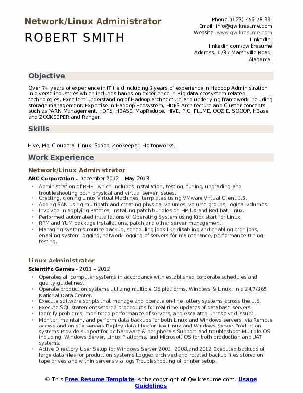 Linux Administrator Resume Samples Qwikresume