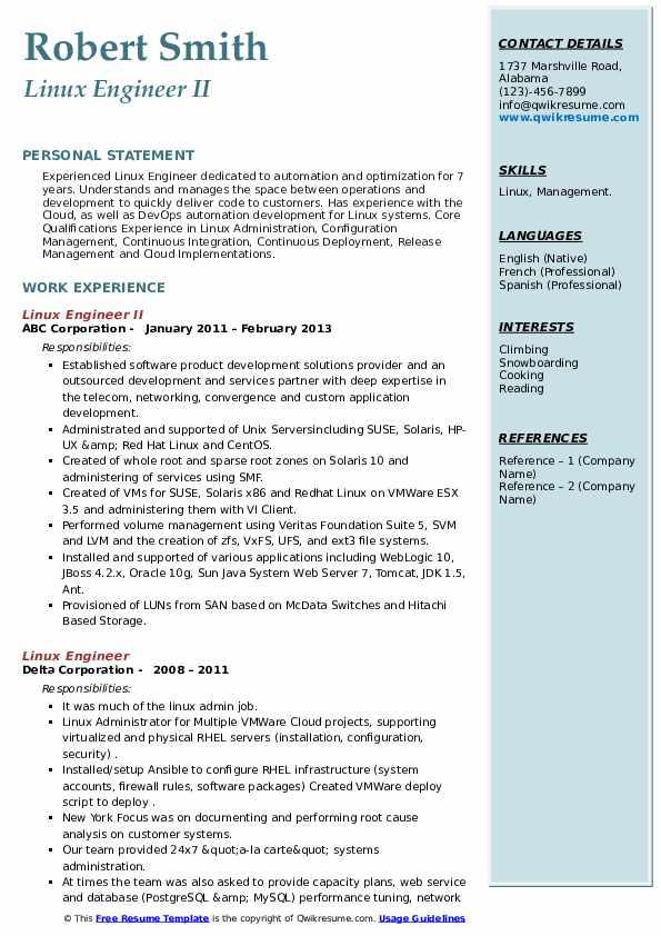 linux engineer resume samples