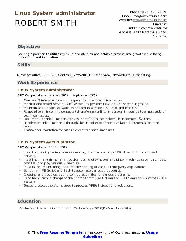 Linux System administrator Resume Example