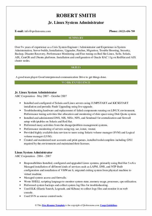 Jr. Linux System Administrator Resume Template