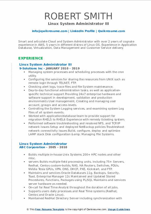 Linux System Administrator III Resume Template
