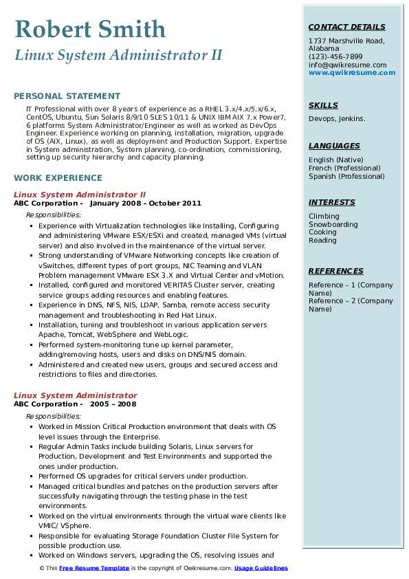 Linux System Administrator II Resume Format