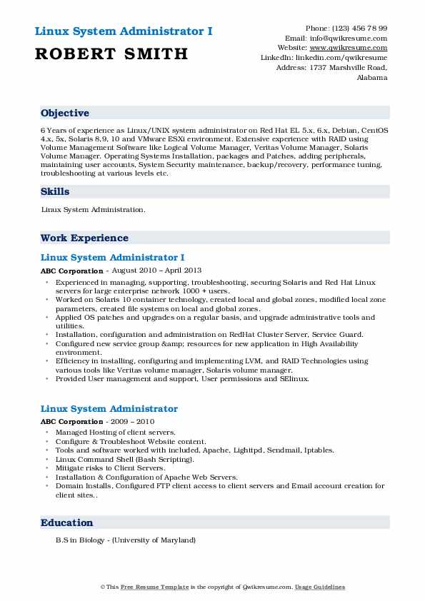 Linux System Administrator I Resume Example