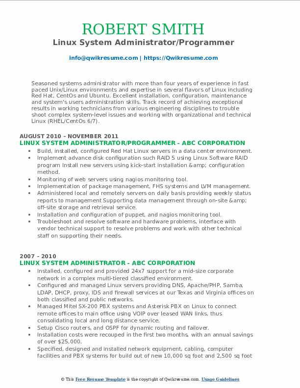 Linux System Administrator/Programmer Resume Example