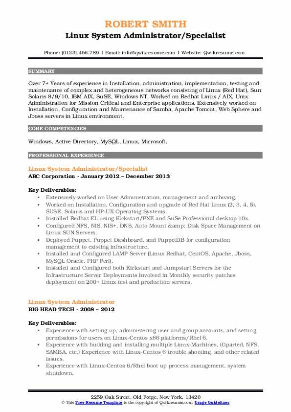 Linux System Administrator/Specialist Resume Model