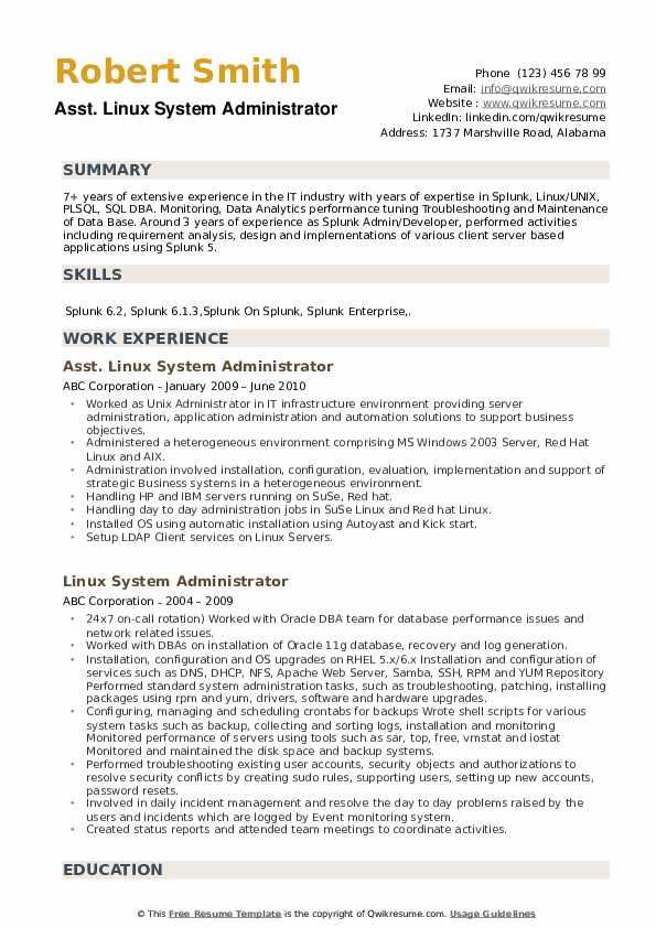 Asst. Linux System Administrator Resume Sample