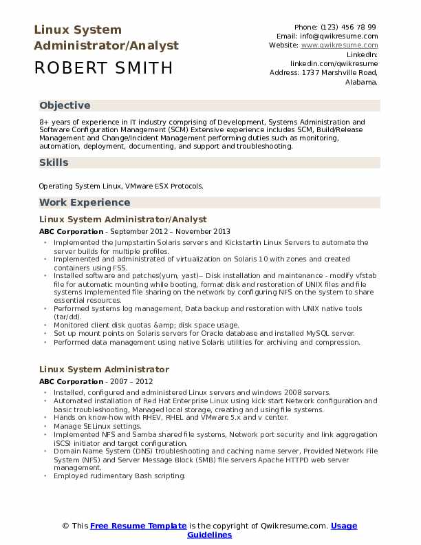 Linux System Administrator/Analyst Resume Sample