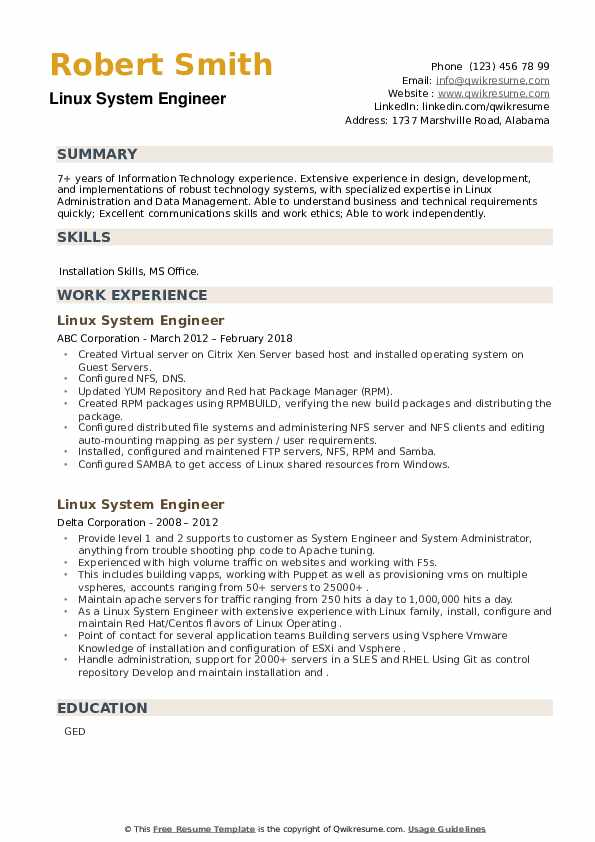 Linux System Engineer Resume example