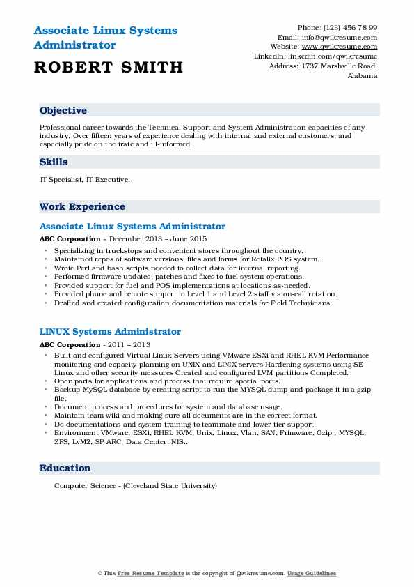 linux systems administrator resume samples  qwikresume