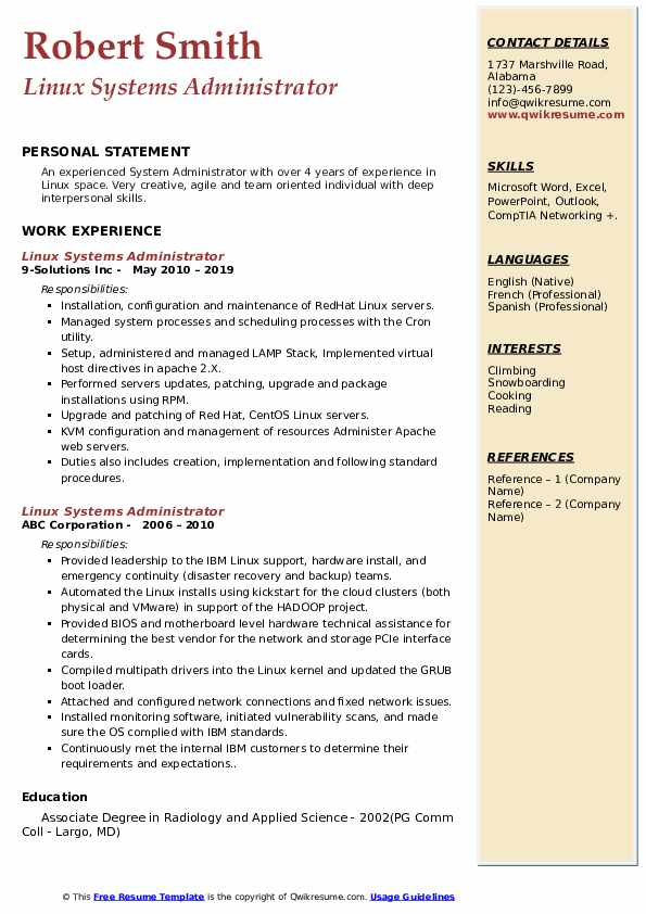 Linux Systems Administrator Resume example
