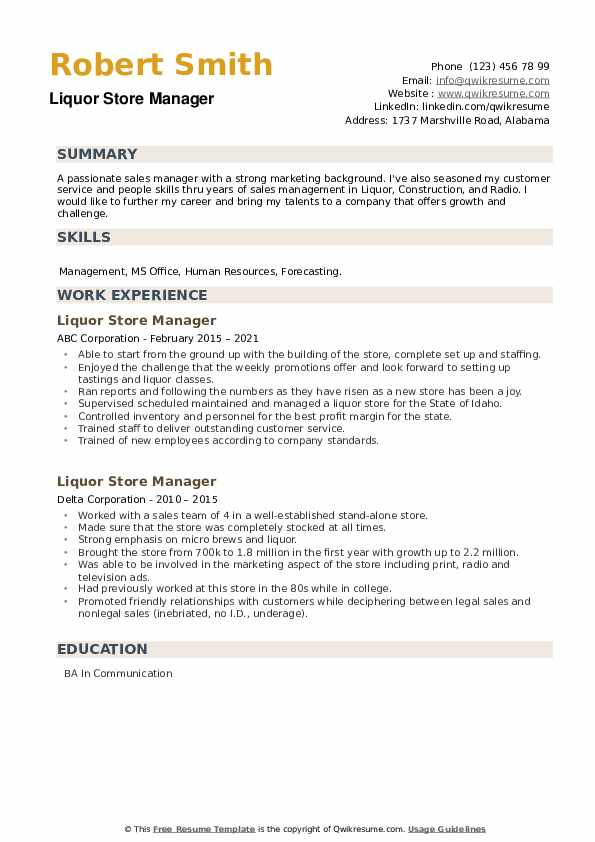 Liquor Store Manager Resume example