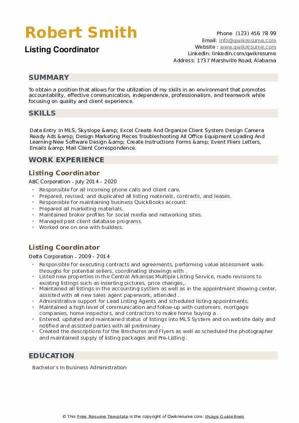 Listing Coordinator Resume example