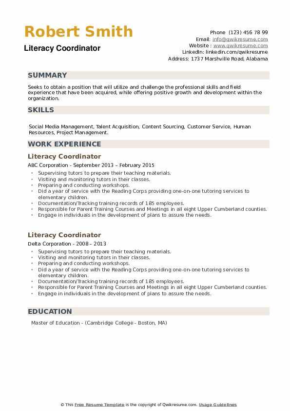 Literacy Coordinator Resume example