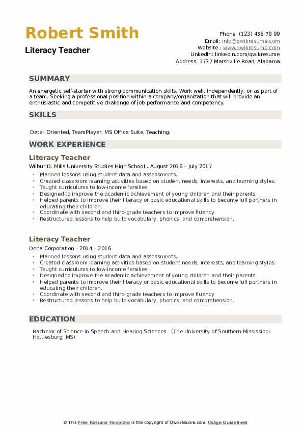 Literacy Teacher Resume example