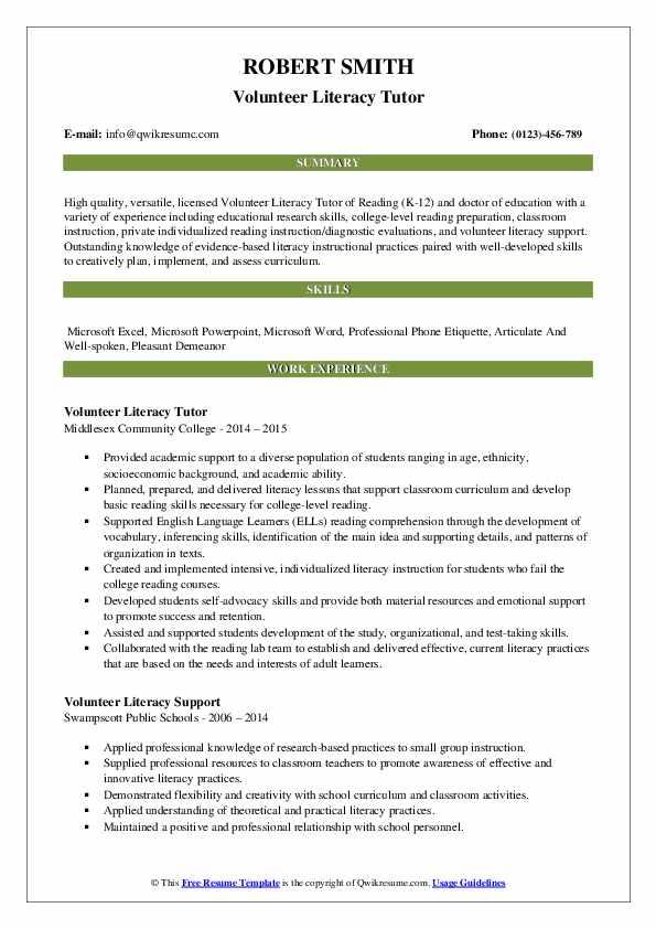 Volunteer Literacy Tutor Resume Model