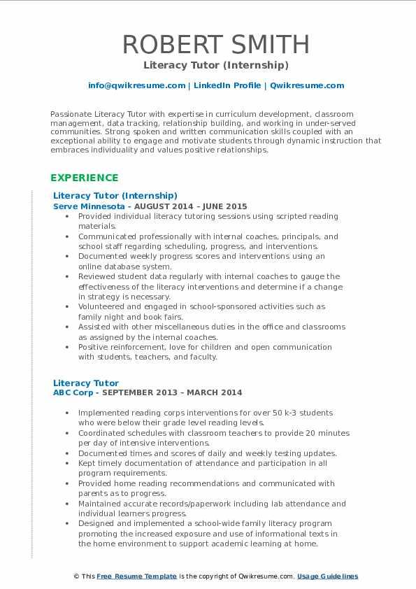 Literacy Tutor (Internship) Resume Model
