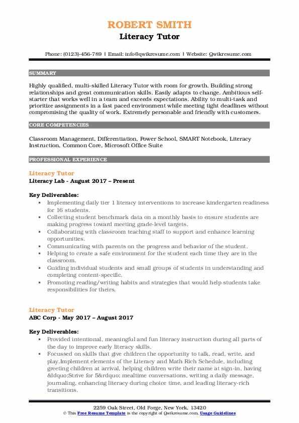Literacy Tutor Resume Format