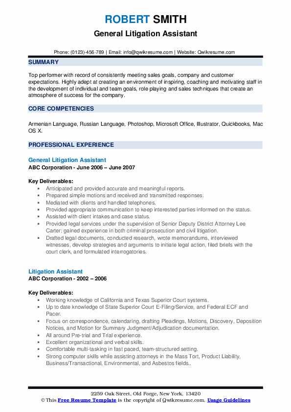 litigation assistant resume samples