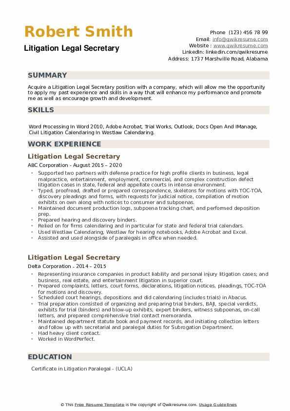 Litigation Legal Secretary Resume example