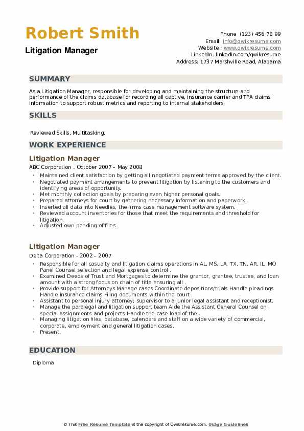 Litigation Manager Resume example