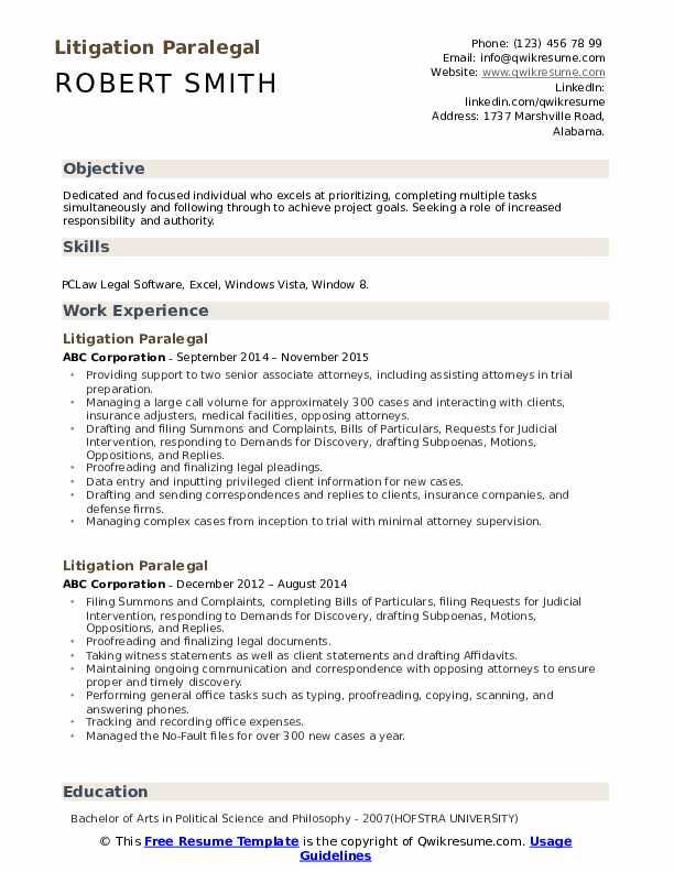 Litigation Paralegal Resume Format
