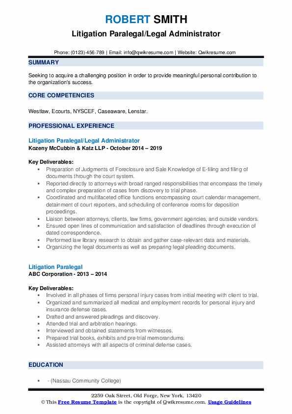 Litigation Paralegal/Legal Administrator Resume Model