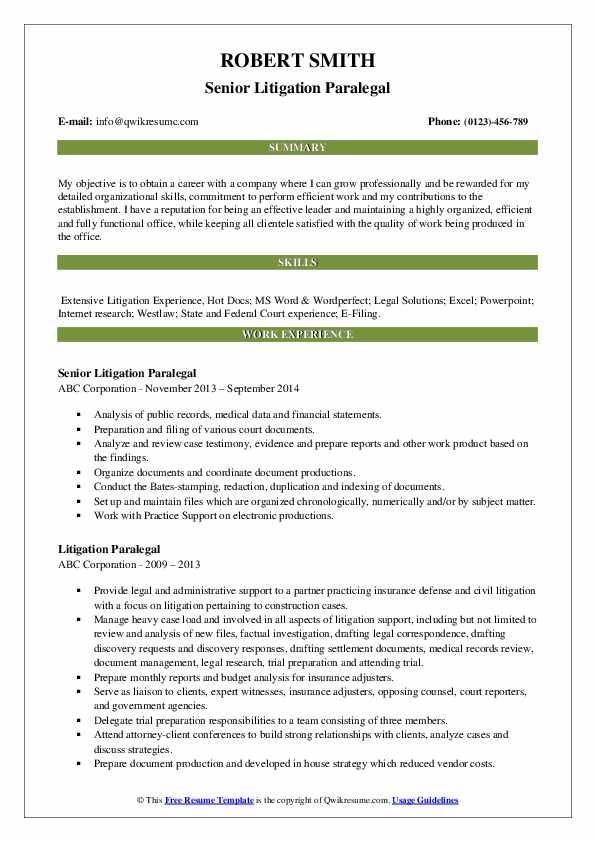 Senior Litigation Paralegal Resume Template