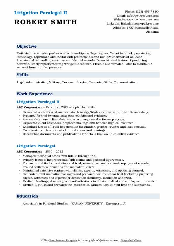 Litigation Paralegal Resume Samples Qwikresume